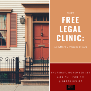 RENEW Free Legal Clinic: Landlord / Tenant Issues @ Greer Relief & Resources Agency