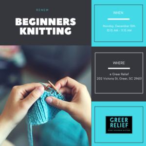 RENEW Beginners Knitting @ Greer Relief & Resources Agency