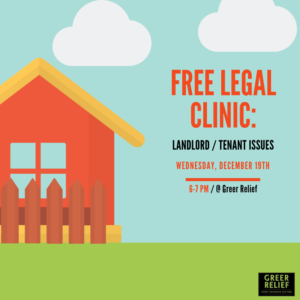 RENEW Free Legal Clinic: Landlord/Tenant Issues @ Greer Relief & Resources Agency