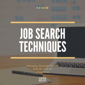 RENEW Job Searching Techniques @ Greer Relief & Resources Agency