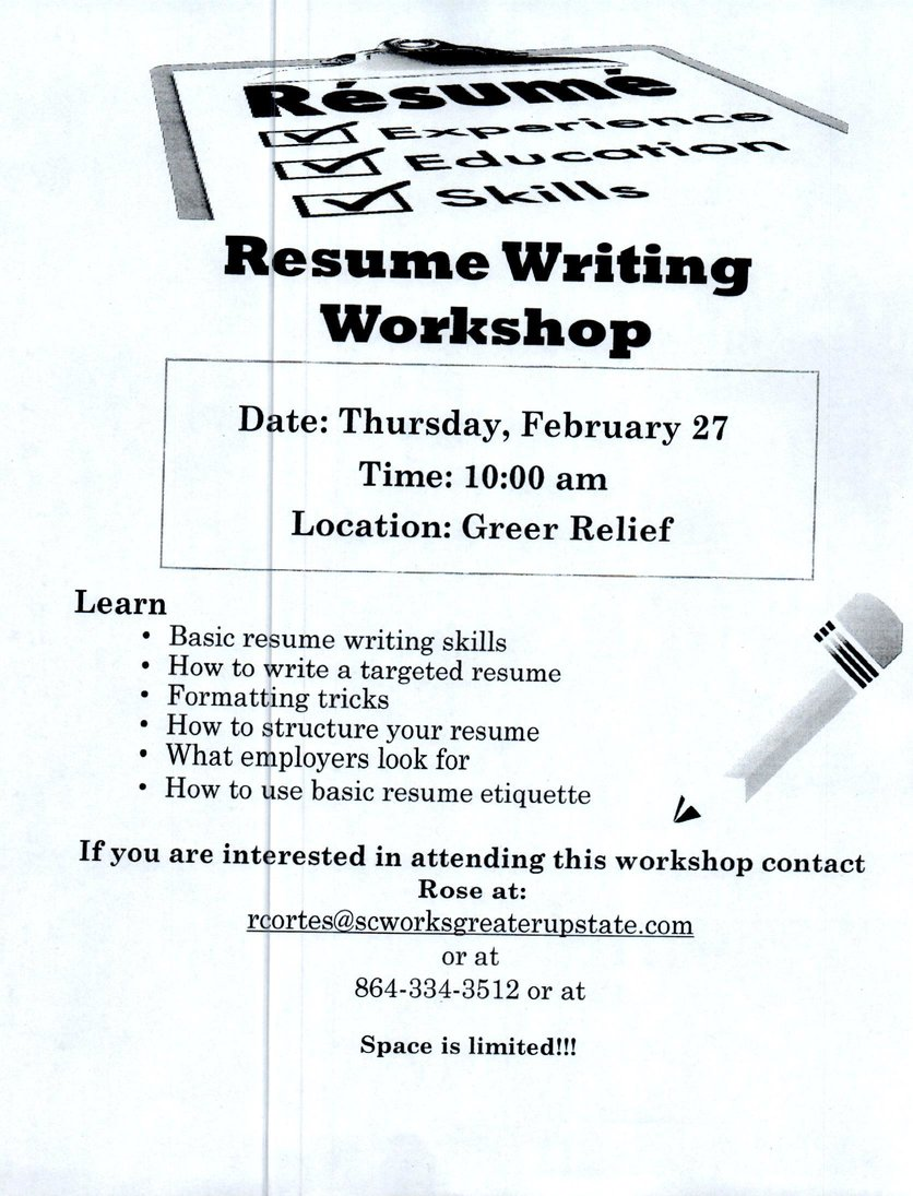 Renew Sc Works Resume Building Workshop Greer Relief