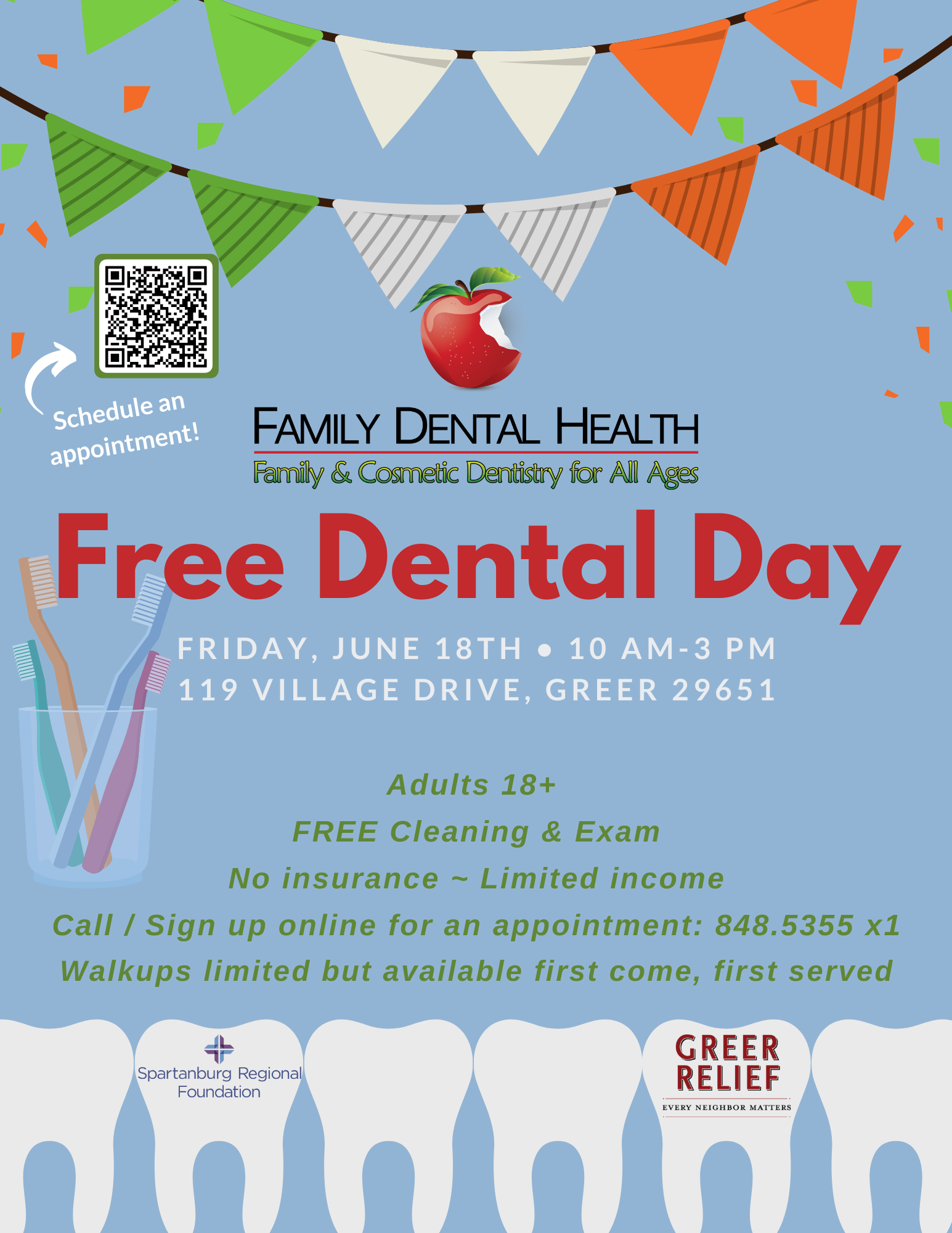 Flyer for free dental day